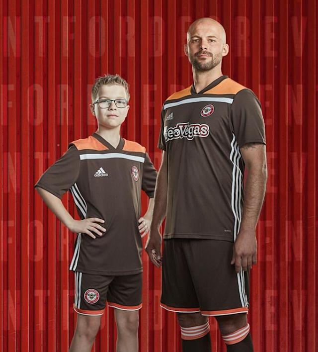 <p>Brentford's away kit is, erm, interesting. A brown kit with orange shoulders, it really is as bad as it stands. One website described it as a Jaffa Cake-inspired number. (Brentford's website) </p>