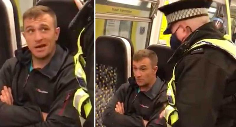 The encounter took place on a Merseyrail train, the BTP said. (Video posted by @StopComplying)