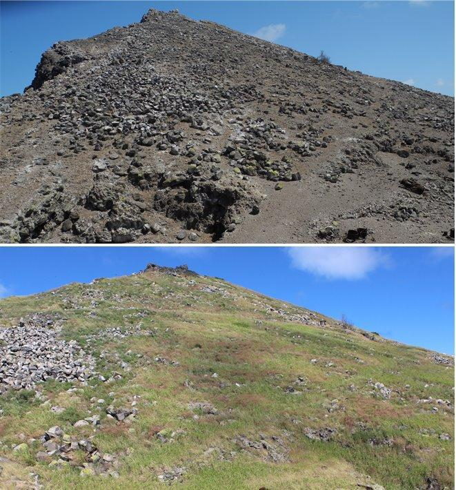 Composite showing before and after on Redonda with pictures from 2012 and 2020