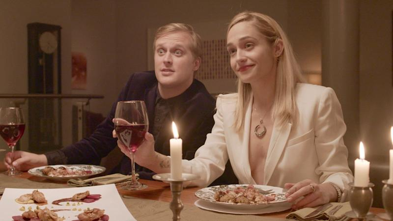 John Early (left) and Jemima Kirke are two guest stars who pop up on the black comedy series. (Funny Or Die)
