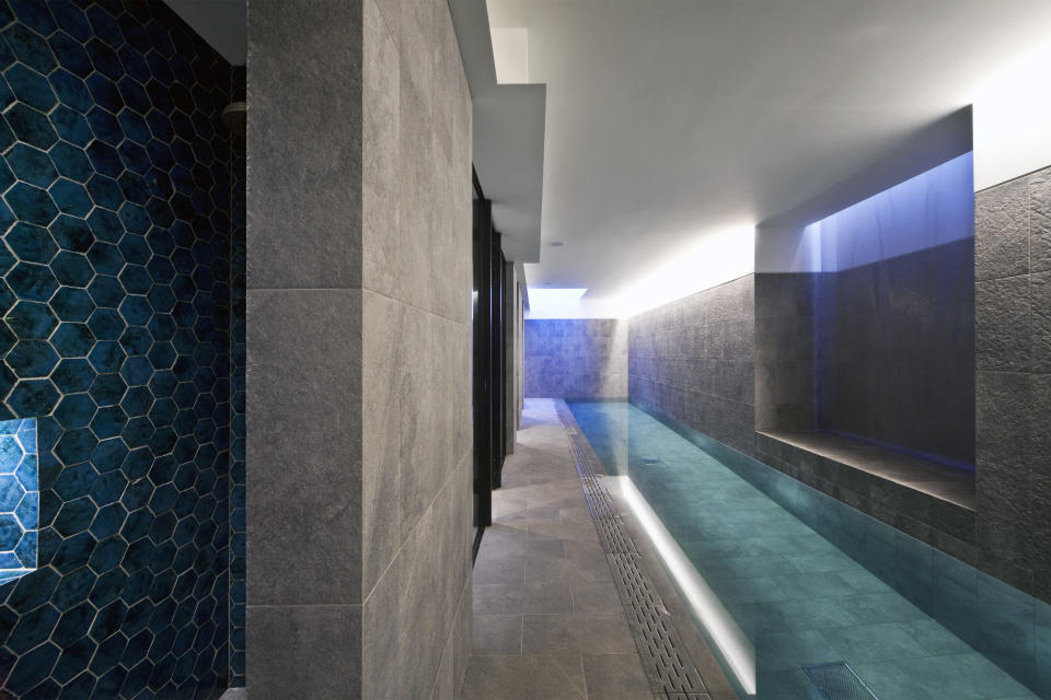 The sleek pool in the basement of the gothic build (Channel 4)