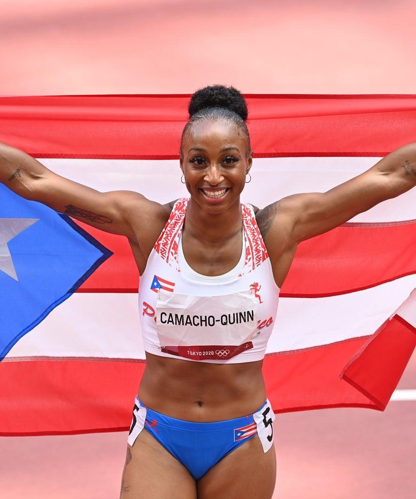 TOKYO, JAPAN – AUGUST 02: Jasmine Camacho Quinn of Puerto Rico celebrates after winning the gold medal in the Women's 100m Hurdles Final during the Tokyo 2020 Olympic Games at Olympic Stadium in Tokyo, Japan on August 02, 2021. (Photo by Mustafa Yalcin/Anadolu Agency via Getty Images)