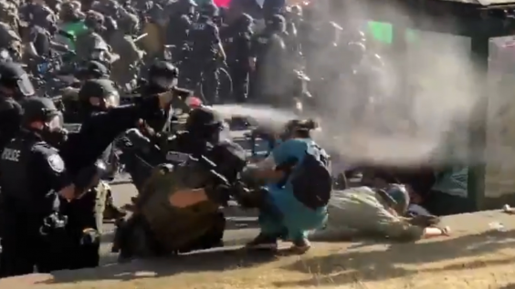 A nurse has tear gas fired into her face while trying to help a protester who had been pushed over by police during a demonstration for racial justice in Seattle