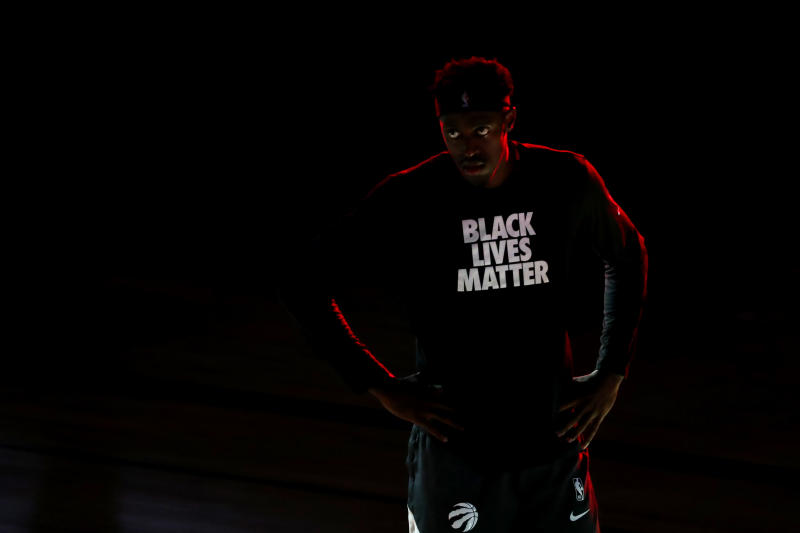 LAKE BUENA VISTA, FLORIDA - AUGUST 17: Pascal Siakam #43 of the Toronto Raptors is introduced prior to game one of the first round of the 2020 NBA Playoffs against the Brooklyn Nets at AdventHealth Arena at ESPN Wide World Of Sports Complex on August 17, 2020 in Lake Buena Vista, Florida. NOTE TO USER: User expressly acknowledges and agrees that, by downloading and/or using this Photograph, user is consenting to the terms and conditions of the Getty Images License Agreement. (Photo by Kim Klement-Pool/Getty Images)