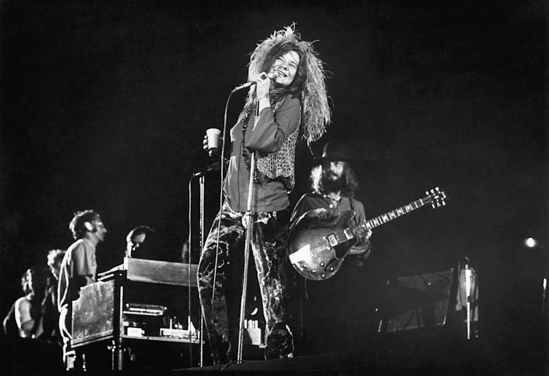 Janis Joplin and her final group, the Full Tilt Boogie Band, perform at the Festival for Peace at Shea Stadium in August 1970.   Bettmann Archive