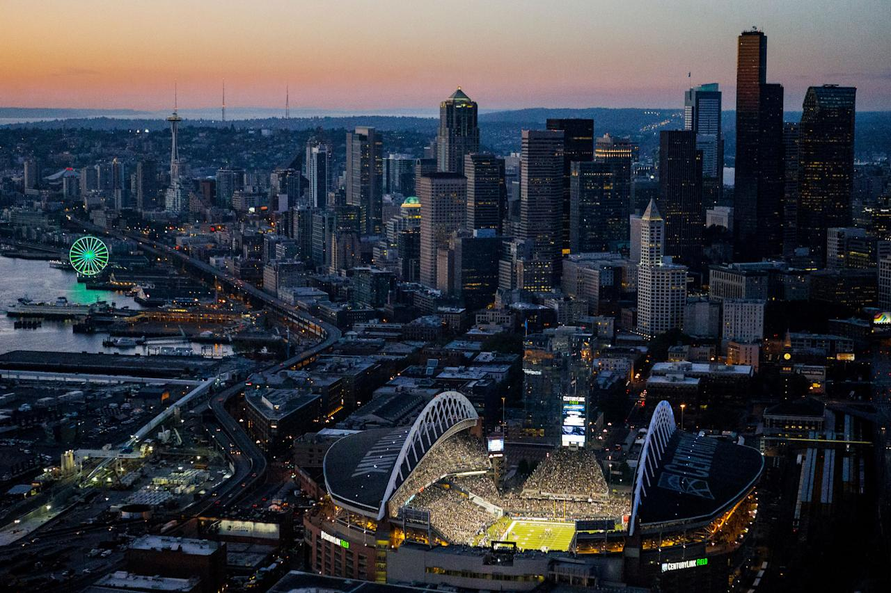 This aerial photo shows CenturyLink Field as the Seattle Seahawks face the Green Bay Packers in a season opener, NFL football game, Thursday, Sept. 4, 2014, in Seattle. The Seahawks won 36-16. (AP Photo/seattlepi.com, Jordan Stead) MAGS OUT; NO SALES; SEATTLE TIMES OUT; TV OUT; MANDATORY CREDIT SEATTLE OUT