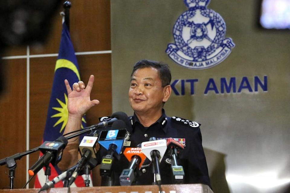 Inspector-General of Police Tan Sri Abdul Hamid Bador speaks at a press conference in Kuala Lumpur January 12, 2021. — Picture by Choo Choy May