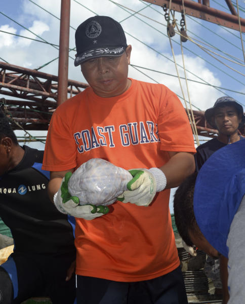 In this April 13, 2013 photo released by the Philippine Coast Guard, members of the Philippine Coast Guard hold a frozen pangolin or scaly anteater on board a Chinese vessel that ran into the Tubbataha coral reef, a UNESCO-designated World Heritage Site, in the southwestern Philippines. Authorities discovered more than 10,000 kilograms (22,000 pounds) of meat from the protected species inside the Chinese vessel F/N Min Long Yu. (AP Photo/ Philippine Coast Guard) NO SALES