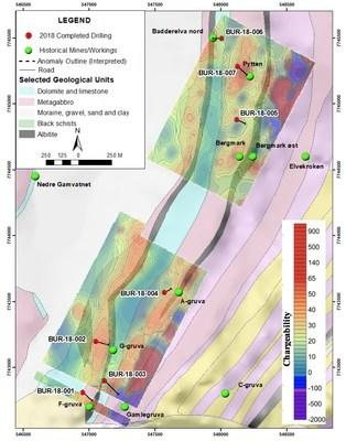 Figure 1. Burfjord drill hole locations showing IP Geophysics (semi-transparent), geology and mineral occurrences. (CNW Group/Boreal Metals)