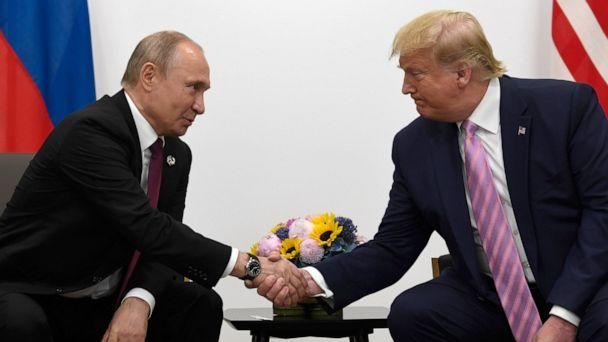 PHOTO: President Donald Trump, right, meets with Russian President Vladimir Putin during a bilateral meeting on the sidelines of the G-20 summit in Osaka, Japan, June 28, 2019. (Susan Walsh/AP, FILE)