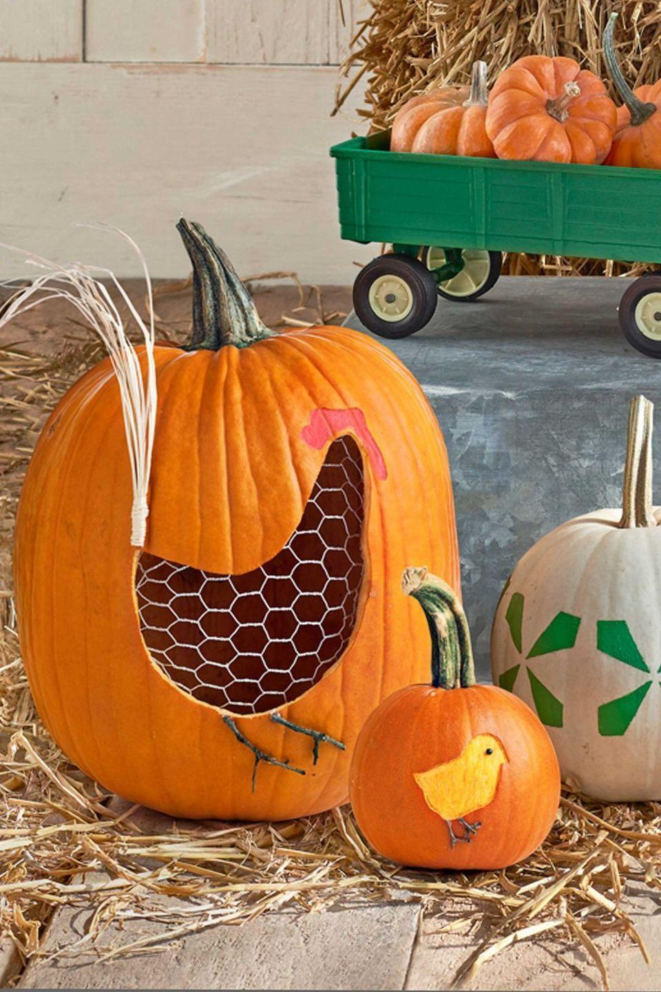 "<p>Use a stencil to cutout the rooster's main shape and then put chicken wire inside the pumpkin to finish off the look. Secure the wire with hot glue, and use the glue to attach a few strands of raffia to create some tail feathers. Paint some details, and prepare to proudly display this farm-inspired masterpiece. </p><p><strong><em>Get the tutorial at <a href=""http://clv.h-cdn.co/assets/downloads/1472485017_-_pumpkintemplates.pdf"" rel=""nofollow noopener"" target=""_blank"" data-ylk=""slk:Country Living."" class=""link rapid-noclick-resp"">Country Living.</a> </em></strong></p><p><strong>What You'll Need: </strong><a href=""https://www.amazon.com/SATINIOR-Sheets-Chicken-Galvanized-Hexagonal/dp/B07XM664RY/ref=sr_1_1_sspa?dchild=1&keywords=chicken+wire&qid=1594068622&sr=8-1-spons&psc=1&spLa=ZW5jcnlwdGVkUXVhbGlmaWVyPUExUUE0RU0xRUtGODFDJmVuY3J5cHRlZElkPUEwOTI4NTk0M1RPTlc1OFo2WFBVSSZlbmNyeXB0ZWRBZElkPUEwNzk3NzY3MTdFRUxZNjBHMUxNTiZ3aWRnZXROYW1lPXNwX2F0ZiZhY3Rpb249Y2xpY2tSZWRpcmVjdCZkb05vdExvZ0NsaWNrPXRydWU="" rel=""nofollow noopener"" target=""_blank"" data-ylk=""slk:Chicken wire"" class=""link rapid-noclick-resp"">Chicken wire</a> ($17, Amazon) </p>"