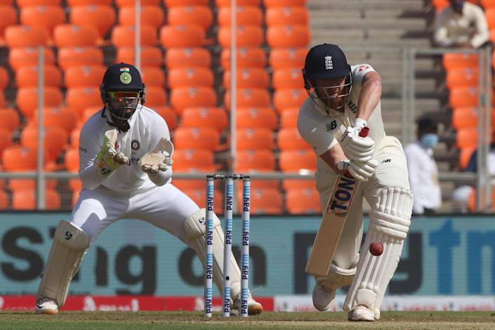 Jonny Bairstow bats during day one of the fourth Test in India (BCCI)