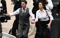<p>Tom Cruise and Hayley Atwell are seen handcuffed while filming <em>Mission: Impossible 7</em> in Rome on Tuesday.</p>