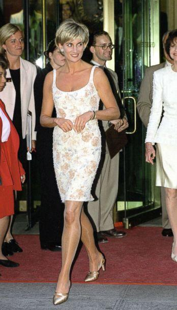 PHOTO: Diana, Princess Of Wales arrives for the Christie's party in New York wearing a champagne colored dress designed by fashion designer Catherine Walker, June 23, 1997. (Tim Graham/Getty Images, FILE)