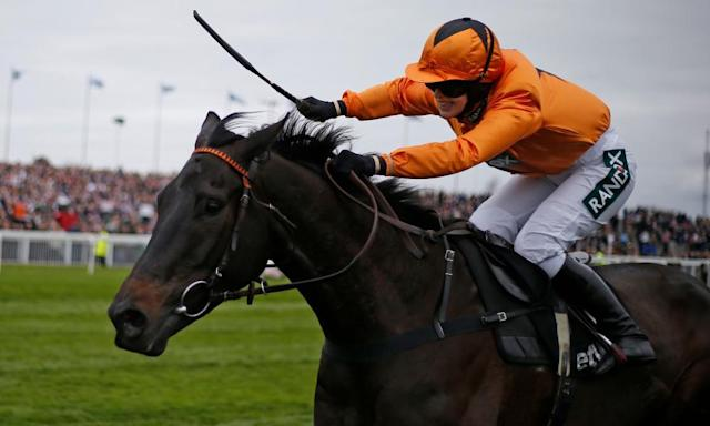 "<span class=""element-image__caption"">Lizzie Kelly rides Tea For Two clear to win the Betway Bowl at Aintree on Thursday.</span> <span class=""element-image__credit"">Photograph: Alan Crowhurst/Getty Images</span>"