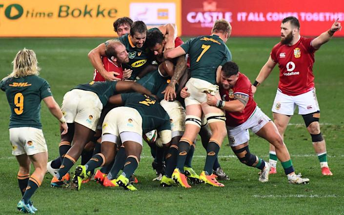 South Africa's second row Eben Etzebeth getting friendly with the Lions - AFP