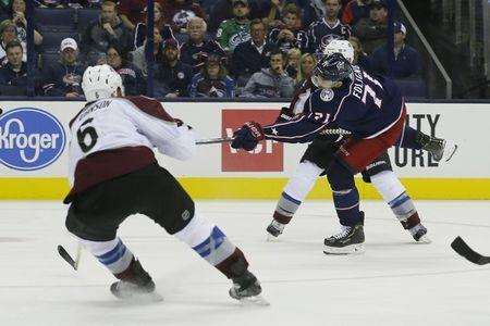 Oct 9, 2018; Columbus, OH, USA; Columbus Blue Jackets left wing Nick Foligno (71) scores on the shot against the Colorado Avalanche during the third period at Nationwide Arena. Mandatory Credit: Russell LaBounty-USA TODAY Sports
