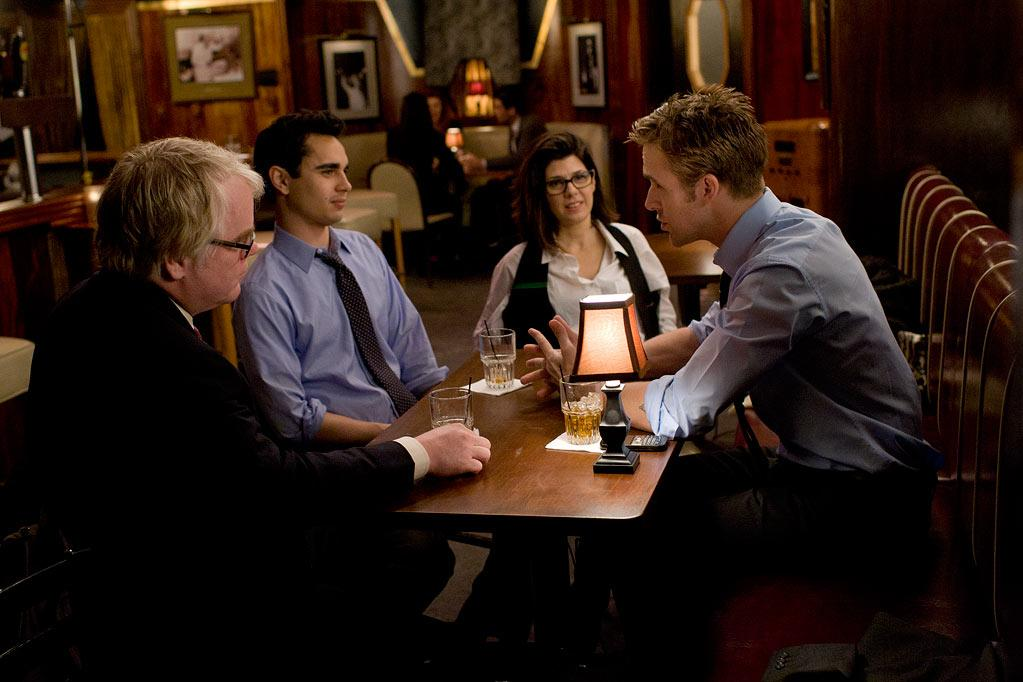 """<a href=""""http://movies.yahoo.com/movie/contributor/1800021779"""">Philip Seymour Hoffman</a>, <a href=""""http://movies.yahoo.com/movie/contributor/1808617316"""">Max Minghella</a>, <a href=""""http://movies.yahoo.com/movie/contributor/1800024659"""">Marisa Tomei</a> and <a href=""""http://movies.yahoo.com/movie/contributor/1804035474"""">Ryan Gosling</a> in Columbia Pictures' <a href=""""http://movies.yahoo.com/movie/1810155680/info"""">The Ides of March</a> - 2011"""