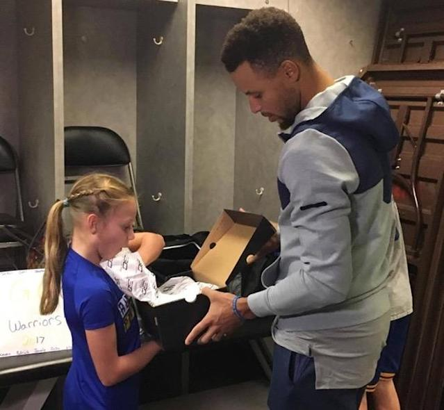 Jordyn Johnsen of Santa Rosa, Calif. got to meet Steph Curry Sunday night. (Photo courtesy Donna Johnsen)