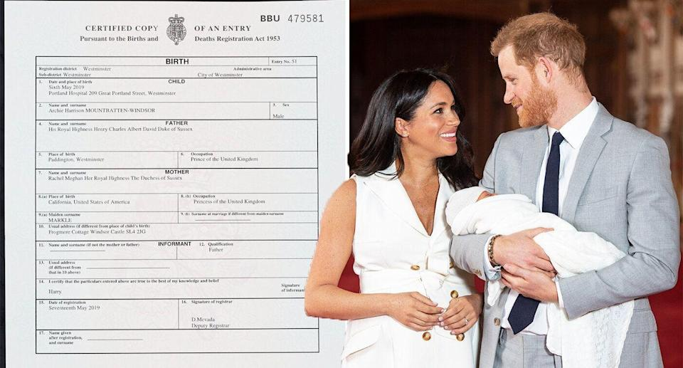 Archie's birth certificate confirms speculation he was born at Portland Hospital. [Photo: PA]