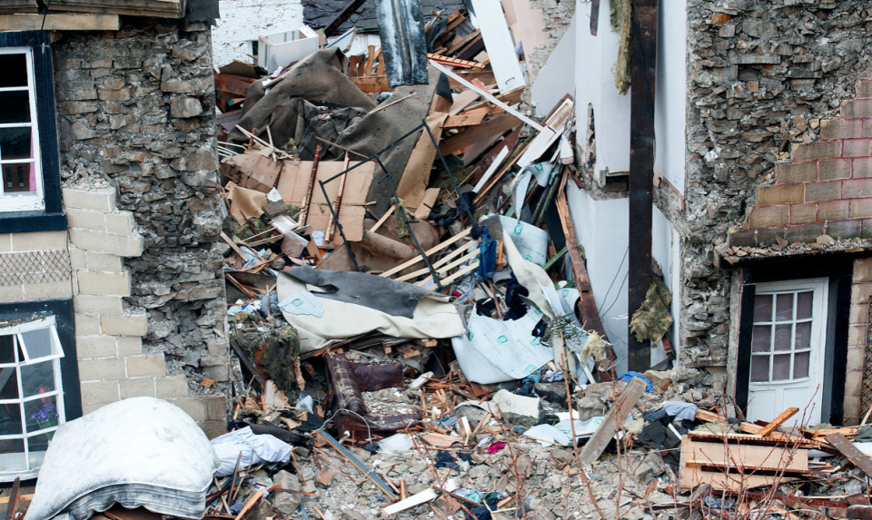 Hazel Wilcock's home in Greater Manchester following the explosion. (Reach)