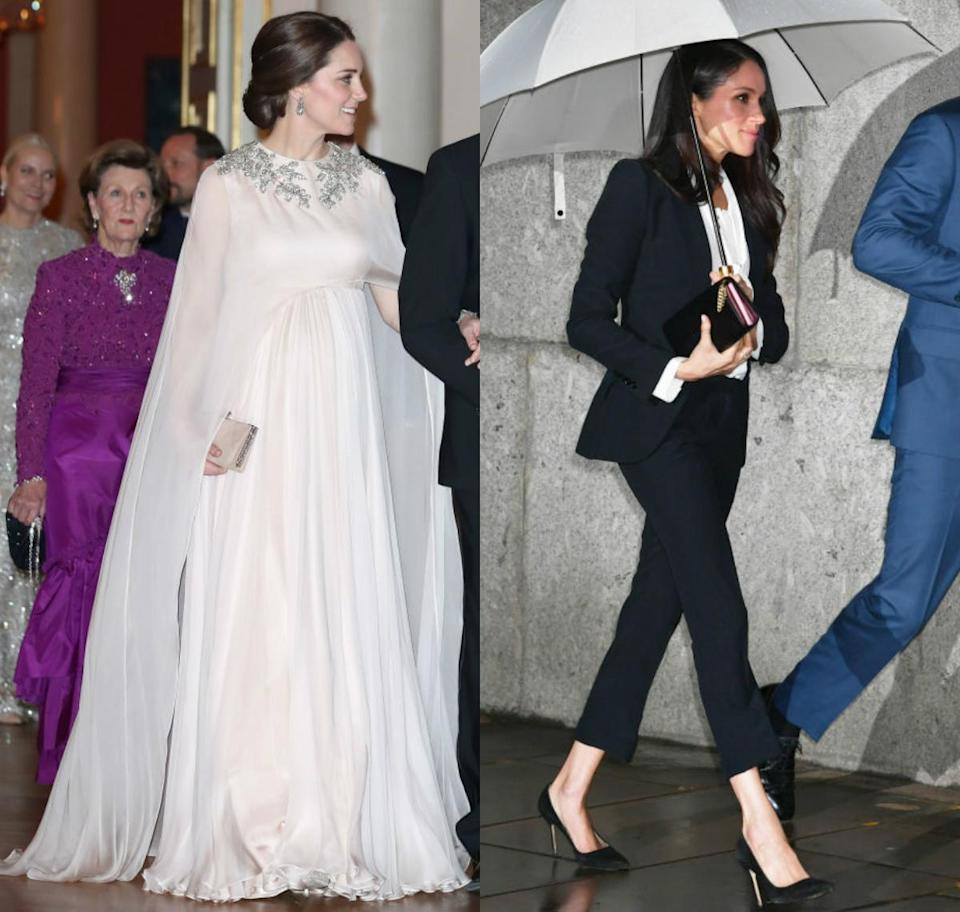 <p><strong>When: Feb. 1, 2018</strong><br>It was a rare, modern move for the upcoming Duchess — and not something you'd see Kate Middleton rock. The princess was also spotted wearing Alexander McQueen on Thursday evening, but a beaded and caped chiffon gown rather than a tux. Two vastly different looks, but same designer — who wore it better? <em>(Photo: Getty)</em> </p>