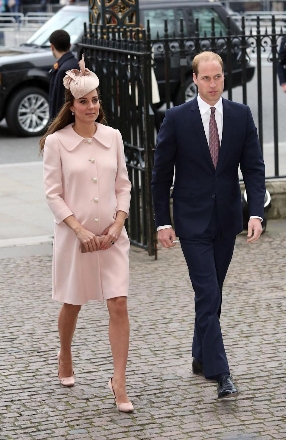 <p>Kate chose a soft pink Alexander McQueen ensemble and coordinating Jane Taylor hat for the Commonwealth Day service. She carried a pink Prada clutch and wore pink Prada pumps too.</p><p><i>[Photo: PA]</i></p>