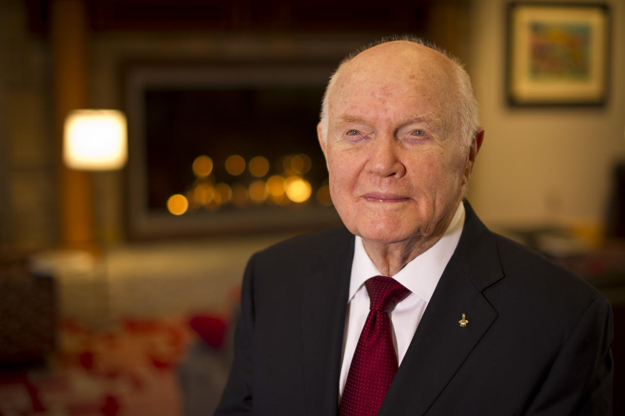 In this photo provided by NASA, Sen. John Glenn poses for a portrait shortly after doing live television interviews from the Ohio State University Union building, Monday, Feb. 20, 2012, in Columbus, Ohio. Monday marks the 50th anniversary of Glenn's historic flight. Glenn was the first American to orbit Earth. (AP Photo/NASA, Bill Ingalls) MANDATORY CREDIT