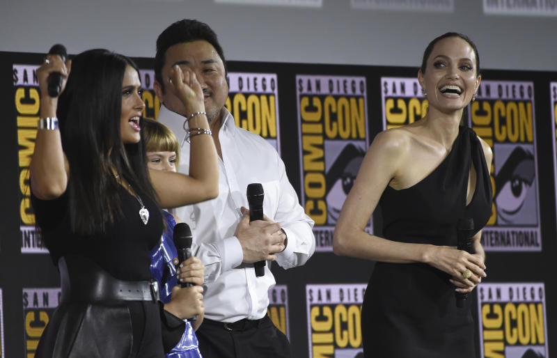 Salma Hayek, from left, Lia McHugh, Don Lee and Angelina Jolie participate in the Marvel Studios panel on day three of Comic-Con International on Saturday, July 20, 2019, in San Diego. (Photo by Chris Pizzello/Invision/AP)