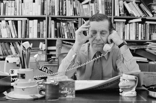 <p>Morley Safer was a CBS News journliast for 52 years, with 46 of those at 60 Minutes (he was the program's longest serving reporter). A 12-time Emmy award winner, Safer died on May 19 at age 84. — (Pictured) Morley Safer in his office in 1980. (CBS via Getty Images) </p>