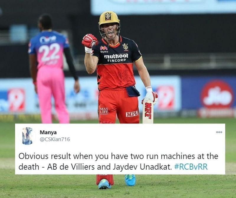 AB de Villiers' blistering fifty took RCB to a thrilling win