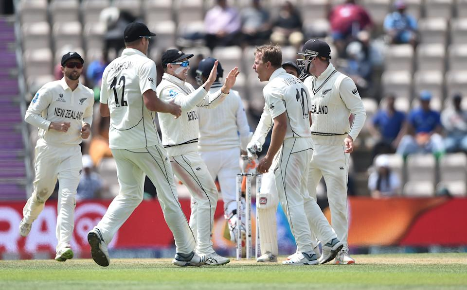 SOUTHAMPTON, ENGLAND - JUNE 23 : Neil Wagner of New Zealand celebrates with his teammates after he gets Ravindra Jadeja of India out during Day 6 of the ICC World Test Championship Final between India and New Zealand at The Hampshire Bowl on June 23, 2021 in Southampton, England. (Photo by Nathan Stirk-ICC/ICC via Getty Images)