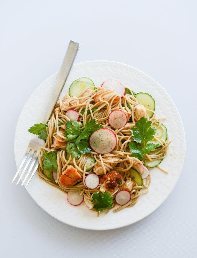 """<strong>Get the <a href=""""http://www.howsweeteats.com/2014/05/soba-noodle-salad-with-caramelized-chicken-and-chili-oil/"""" target=""""_blank"""">Soba Noodle Salad With Caramelized Chicken And Chili Oil recipe</a>from How Sweet Eats</strong>"""