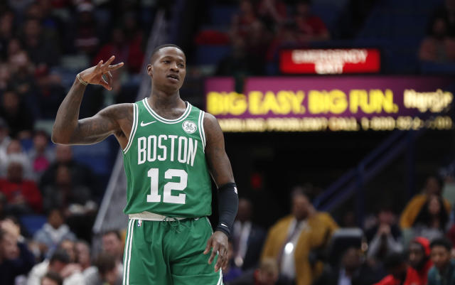 """<a class=""""link rapid-noclick-resp"""" href=""""/nba/players/5476/"""" data-ylk=""""slk:Terry Rozier"""">Terry Rozier</a>'s turnaround has coincided with the <a class=""""link rapid-noclick-resp"""" href=""""/nba/teams/bos"""" data-ylk=""""slk:Celtics"""">Celtics</a>' resurgence this season. (AP)"""