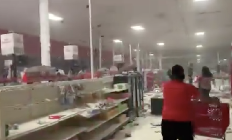 Looters seen among empty shelves in Target in Minneapolis. Source: Twitter