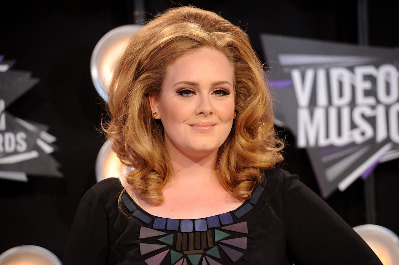 LOS ANGELES, CA - AUGUST 28:  Singer Adele arrives at the 2011 MTV Video Music Awards at Nokia Theatre L.A. LIVE on August 28, 2011 in Los Angeles, California.  (Photo by Jason Merritt/Getty Images)