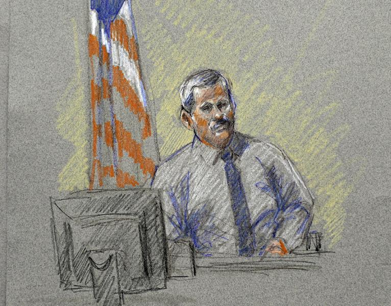 Randy Royer, who was shot twice during the Fort Hood shootings, is depicted in a courtroom sketch at the Lawrence William Judicial Center during the sentencing phase for Maj. Nidal Hasan, Tuesday, Aug. 27, 2013, in Fort Hood, Texas. Hasan was convicted of killing 13 of his unarmed comrades in the deadliest attack ever on a U.S. military base. (AP Photo/Brigitte Woosley)