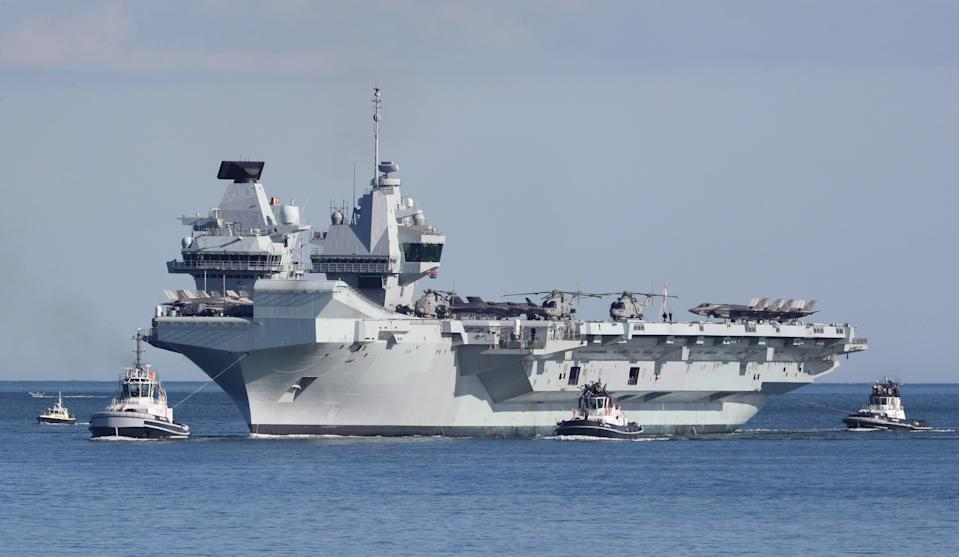 <p>The £3 billion aircraft carrier has just taken part in a major exercise </p> (PA Wire)