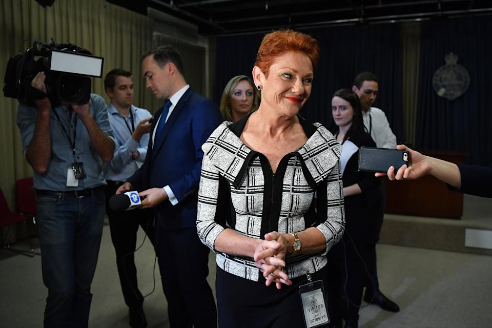 One Nation leader Senator Pauline Hanson was found to be more trustworthy than both Labor leader Bill Shorten and Prime Minister Scott Morrison. Source: AAP