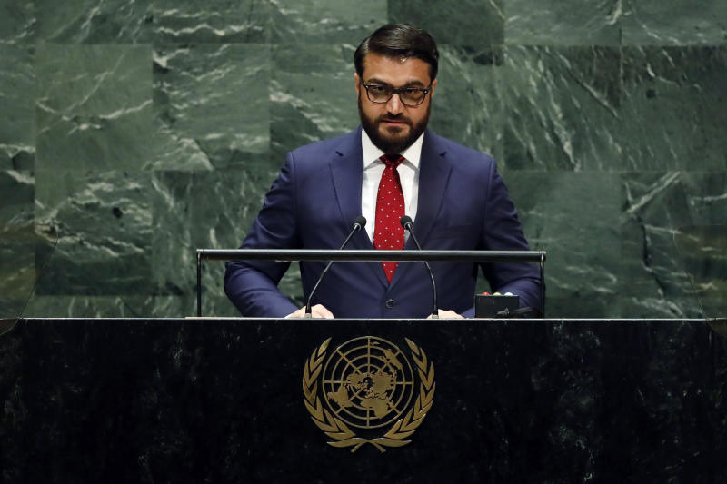 Afghanistan's National Security Adviser Hamdullah Mohib addresses the 74th session of the United Nations General Assembly, Monday, Sept. 30, 2019. (AP Photo/Richard Drew)