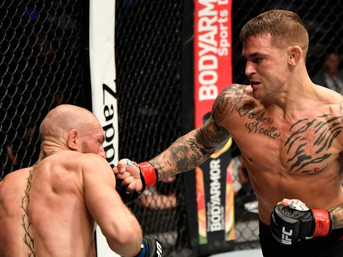Poirier dropped McGregor with a hook before finishing him on the matZuffa LLC via Getty Images