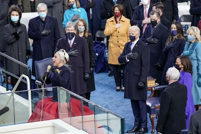 Washington , DC - January 20: Singer Lady Gaga performs the National Anthem during the 59th presidential inauguration in Washington, D.C. on Wednesday, Jan. 20, 2021. (Kent Nishimura / Los Angeles Times)