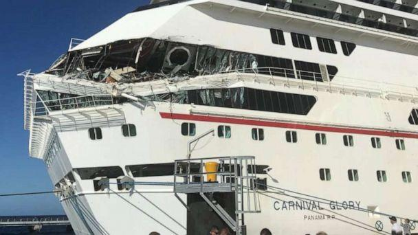 PHOTO: The damage to Carnival Glory is seen after a collision with another cruise ship at Cozumel cruise port, Mexico, Dec. 20, 2019, in this image obtained from social media. (Jordan Moseley via Reuters)