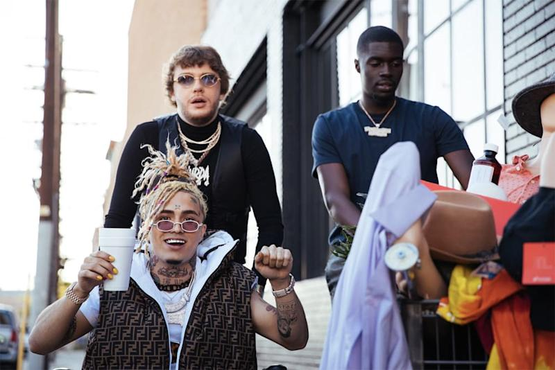 "Murda Beatz, Lil Pump, and Sheck Wes on set of ""Shopping Spree"" music video"