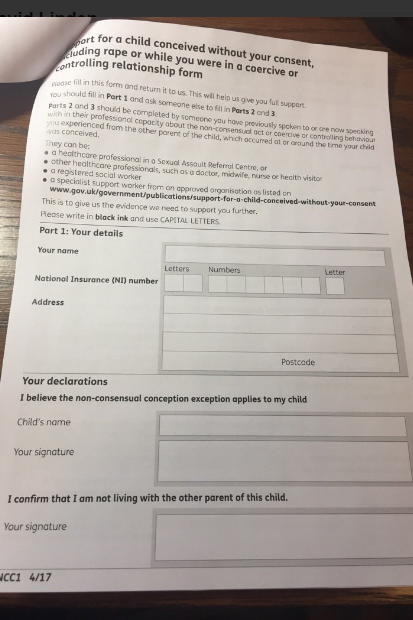 A copy of the controversial form