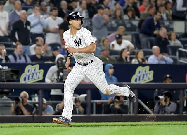 Aaron Hicks became the first New York Yankees player with multiple inside-the-park home runs in a single season since Mickey Mantle in 1958 (AFP Photo/ELSA)