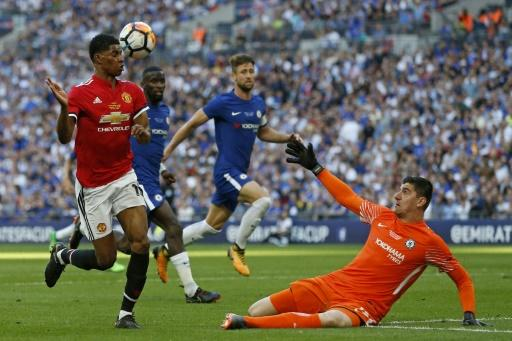 Chelsea's goalkeeper Thibaut Courtois made a brilliant save from Marcus Rashford