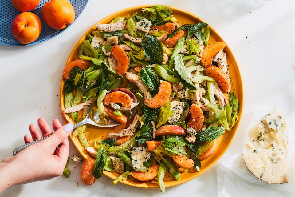 "This summer-season chicken salad is a dance between sweet, creamy, and acidic flavors and tender, crunchy, and juicy ingredients. Make it in early summer when apricots are peaking and choose a fairly nonassertive blue cheese that won't overwhelm the mix. <a href=""https://www.epicurious.com/recipes/food/views/chicken-salad-with-apricots-celery-and-blue-cheese?mbid=synd_yahoo_rss"" rel=""nofollow noopener"" target=""_blank"" data-ylk=""slk:See recipe."" class=""link rapid-noclick-resp"">See recipe.</a>"
