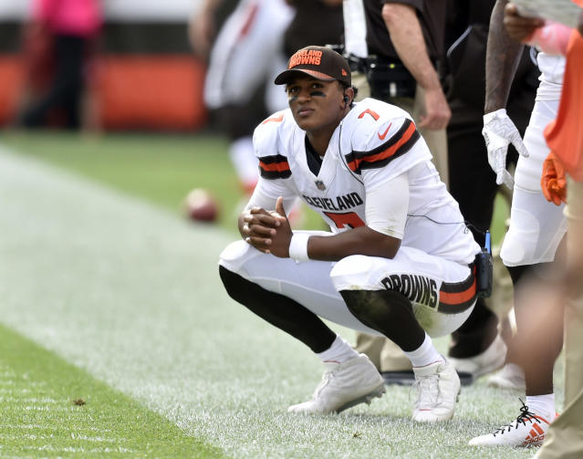 Benching was brief: After one game as the Cleveland Browns' backup quarterback, rookie DeShone Kizer was named starter once again. (AP)