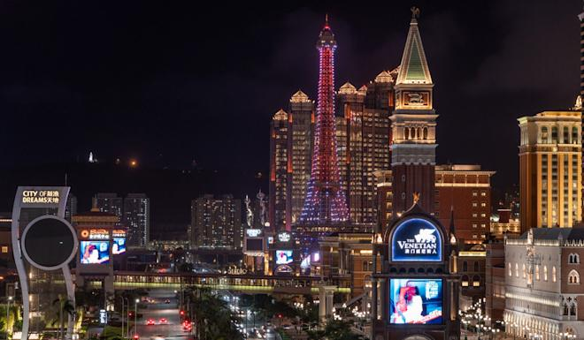 Casinos and hotels stand illuminated at night on the Cotai strip in Macau. Photo: Bloomberg